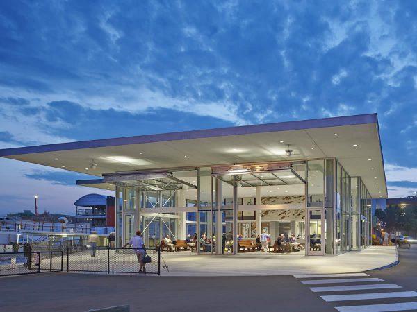 Casco Bay Ferry Terminal at dusk