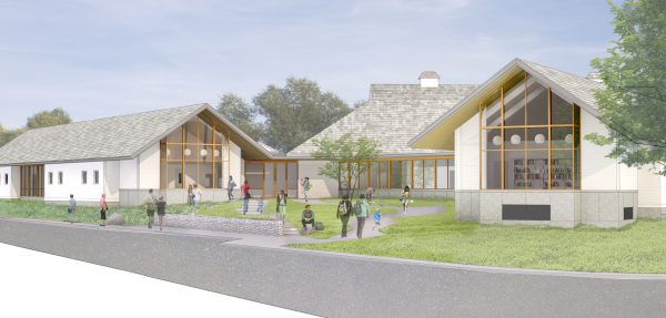 A rendering of the library addition