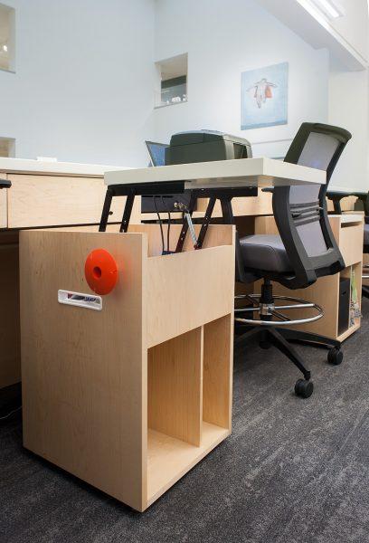 Detail of front desk storage