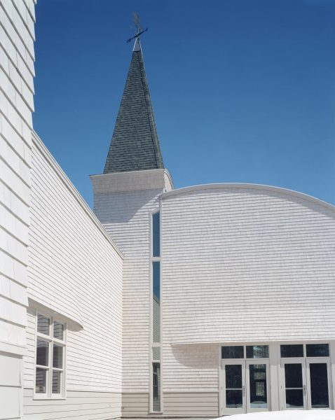 View of the steeple and arched roofline