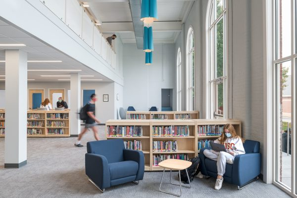 comfortable chairs and bookstacks in the library